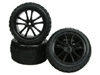 Kyosho LAZER ZX-5 5 Spoke Tyre And Rim Set - Black Color - 3RACING WH-18/BL
