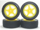 Kyosho Mini Inferno Plastic 5 Spoke Wheel And Tyre Set - Fluorescent Yellow - 3RACING MIF-051/FY