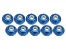Kyosho Mini-Z AWD 3RACING 2MM ALUMINUM LOCK NUTS FLANGED (BLUE) - 10 PCS - 3RACING 3RAC-NF20/BU