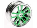 3RACING 1/10 5 Dual Spoke Rim On Road (0 Offset - 24mm) - Green - WH-02/GR