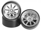 3RACING 1/10 On Road Car 9 Spoke Wheel & Tyre Set For Drift(5mm Offset) - WH-24/SI