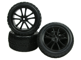 Tamiya DF-03 5 Spoke Tyre And Rim Set - Black Color - 3RACING WH-15/BL