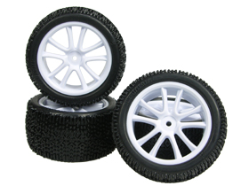 Tamiya DF-03 5 Spoke Tyre and Rim Set - White Color - 3RACING WH-15/WI