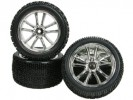 Tamiya DF-03 5 Spoke Tyre And Rim Set - Silver Color - 3RACING WH-15/SI