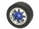 Tamiya FF02 /M03 /M03L /M03M /M04L /M04M 1/10 8 Spoke Rim and Tyre Set - Blue (4 pcs) - 3Racing WH-05/BU
