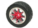 Tamiya FF02 /M03 /M03L /M03M /M04L /M04M 1/10 8 Spoke Rim and Tyre Set - Red (4 pcs) - 3Racing WH-05/RE