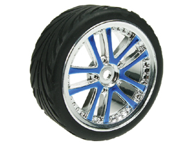 Tamiya M04L 1/10 5 Dual Spoke Rim and Tyre Set - On Road ( 0 Offset - 24mm ) - Blue Color - 3RACING WH-03/BU