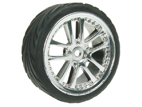 Tamiya M04L 1/10 5 Dual Spoke Rim & Tyre Set - On Road( 0 Offset - 24mm ) - Silver Color - 3RACING WH-03/SI