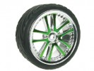 Tamiya M04L 1/10 5 Dual Spoke Rim & Tyre Set - On Road( 0 Offset - 24mm ) - Green Color - 3RACING WH-03/GR