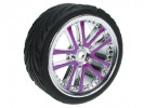 Tamiya M04L 1/10 5 Dual Spoke Rim & Tyre Set - On Road( 0 Offset - 24mm ) - Purple Color - 3RACING WH-03/PU