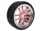 Tamiya M04L 1/10 5 Dual Spoke Rim & Tyre Set - On Road( 0 Offset - 24mm ) - Red Color - 3RACING WH-03/RE