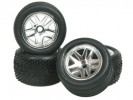 Team Losi MICRO-T Chassis 5 Spoke Tyre Set - Silver Color For 1/36 Team Losi Micro-T - 3Racing WH-10/SI