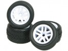 Team Losi MICRO-T Chassis 5 Spoke Tyre Set - White Color For 1/36 Team Losi Micro-T - 3Racing WH-10/WI