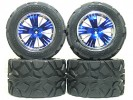 Traxxas Revo HPI Savage 25 /Traxxas Revo Ton Wheel & Tyre Set 40 Series - Wide Offset ( 2 Pairs ) - Blue Color - 3RACING RE-043A/B4