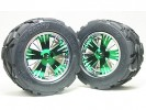 Traxxas Revo HPI Savage 21 /HPI Savage 25 /Traxxas Revo Ton Wheel & Tyre Set 40 Series - Wide Offset ( 1 Pairs ) - Green Color - 3RACING RE-043A/G2