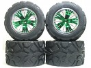 Traxxas Revo HPI Savage 21 /HPI Savage 25 /Traxxas Revo Ton Wheel & Tyre Set 40 Series - Wide Offset ( 2 Pairs ) - Green Color - 3RACING RE-043A/G4