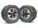 Traxxas Revo HPI Savage 21 /HPI Savage 25 /Traxxas Revo Ton Wheel & Tyre Set 40 Series - Wide Offset ( 1 Pairs ) - Purple Color - 3RACING RE-043A/P2