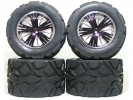 Traxxas Revo HPI Savage 21 /HPI Savage 25 /Traxxas Revo Ton Wheel & Tyre Set 40 Series - Wide Offset ( 2 Pairs ) - Purple Color - 3RACING RE-043A/P4
