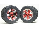 Traxxas Revo HPI Savage 21 /HPI Savage 25 /Traxxas Revo Ton Wheel & Tyre Set 40 Series - Wide Offset ( 1 Pairs ) - Red Color - 3RACING RE-043A/R2